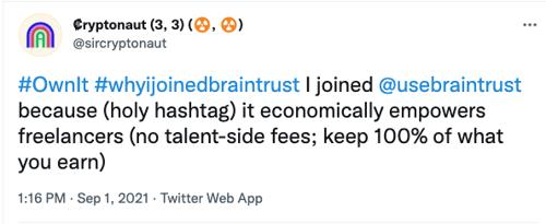 Braintrust growth report 21 cryptonaut tweet