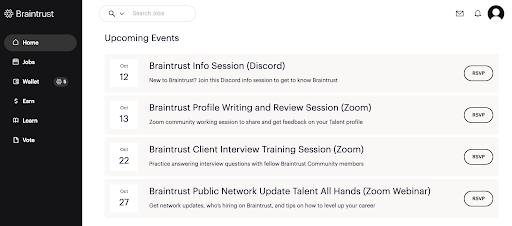 Upcoming Braintrust events