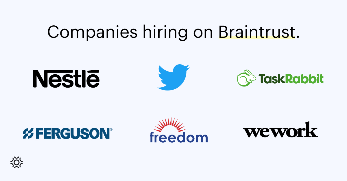 Companies hiring on Braintrust August 12 2021