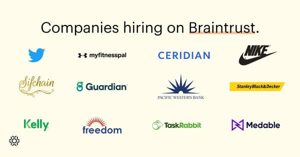 Companies hiring on Braintrust August 19 2021