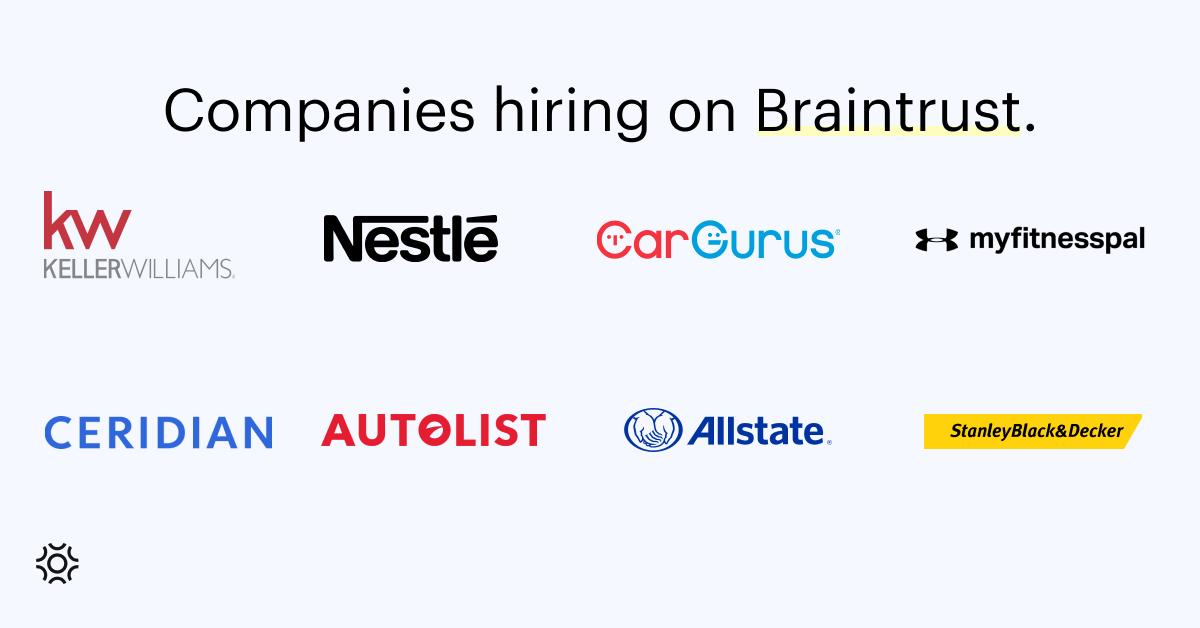 Companies hiring on Braintrust August 26 2022