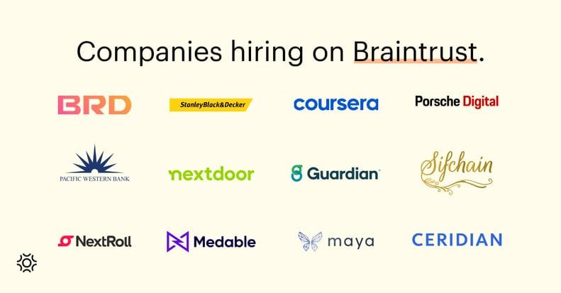Companies hiring on Braintrust August 5 2021