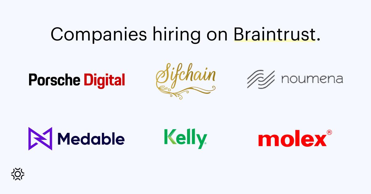 Companies hiring on Braintrust July 22 2023