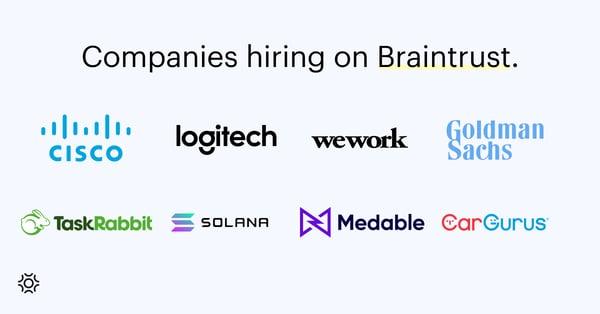 Companies hiring on Braintrust Sept 16 2021
