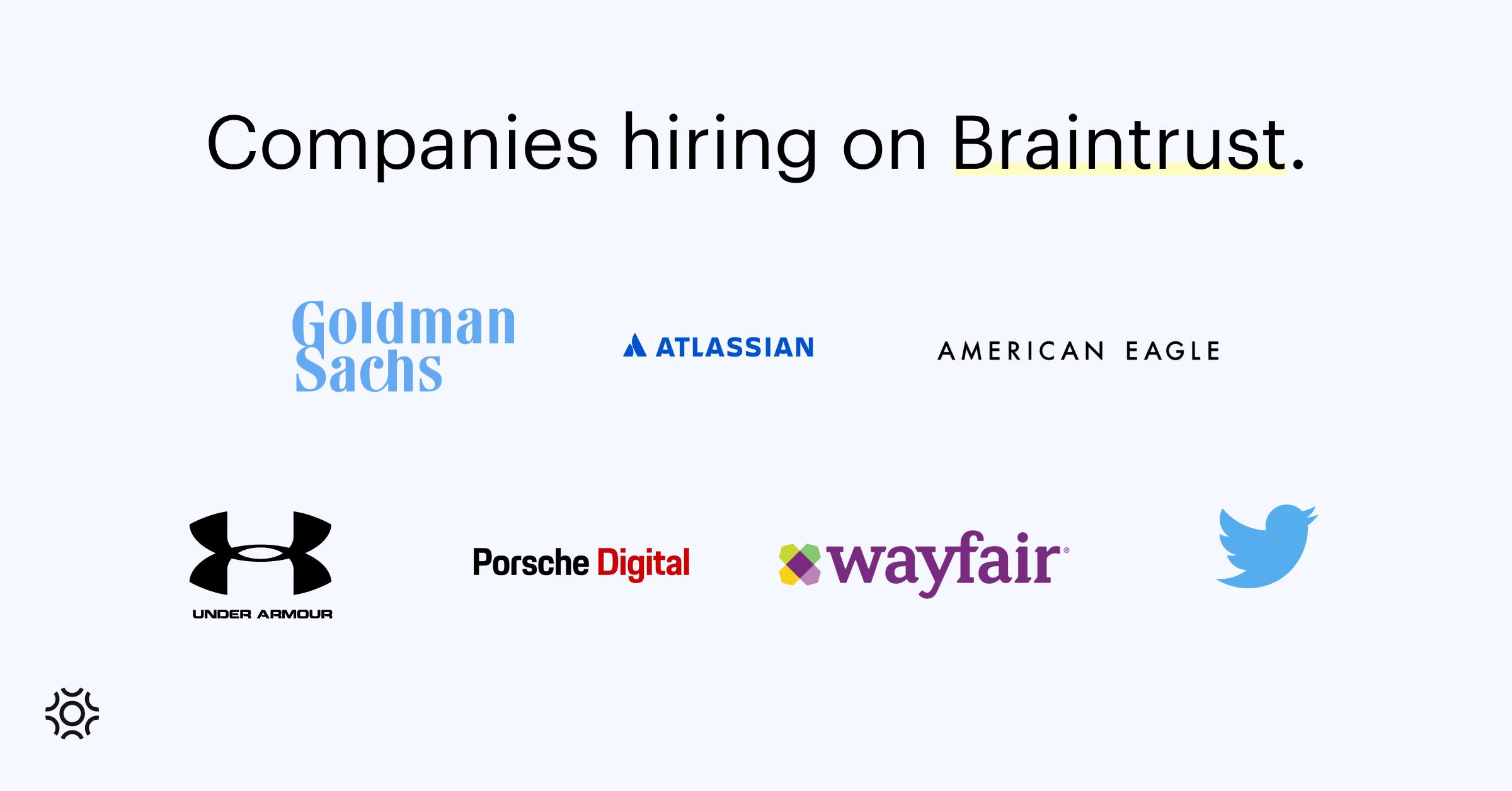 Companies hiring on Braintrust Sept 2 2021-