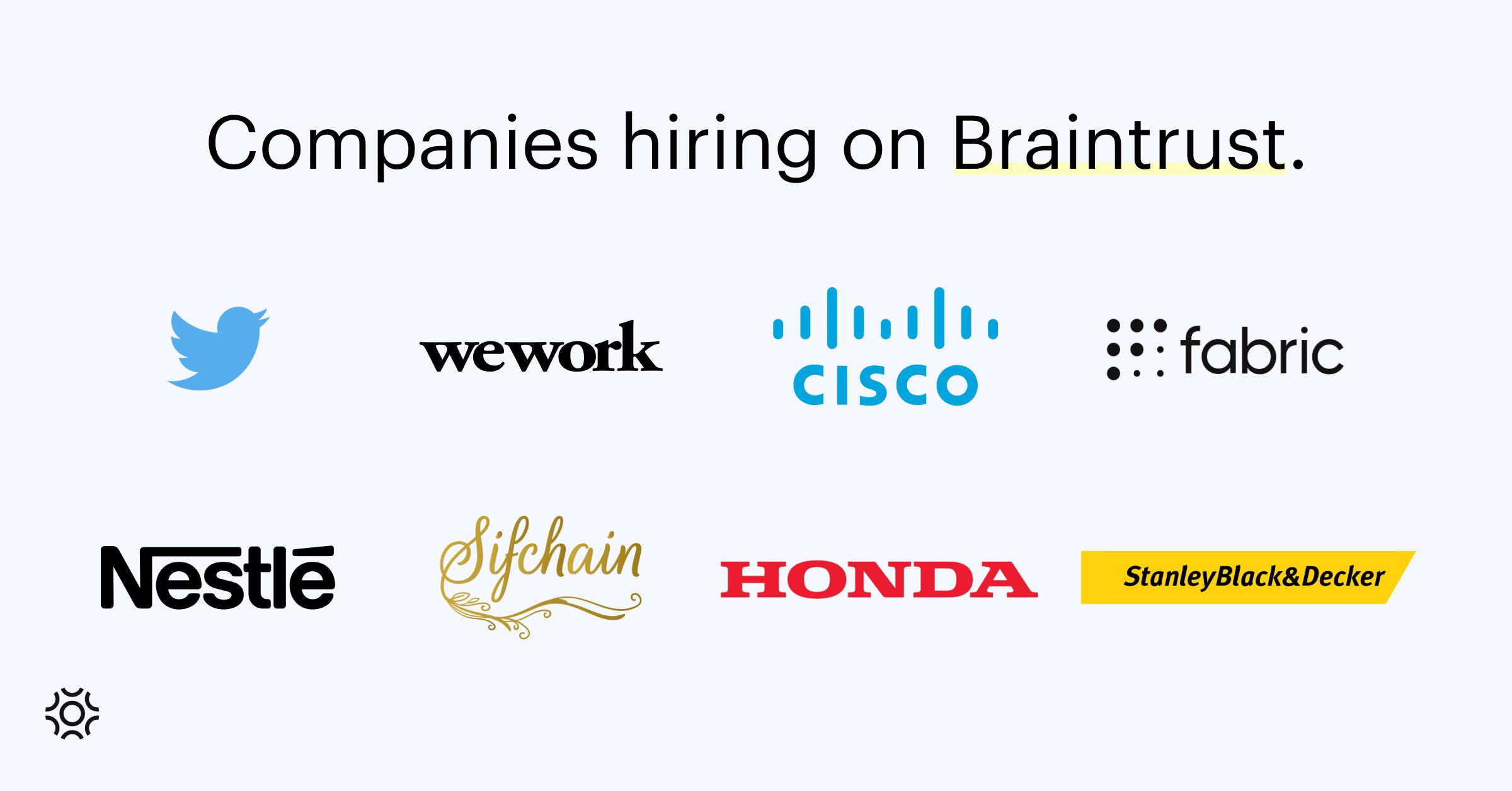 Companies hiring on Braintrust Sept 9 2021-