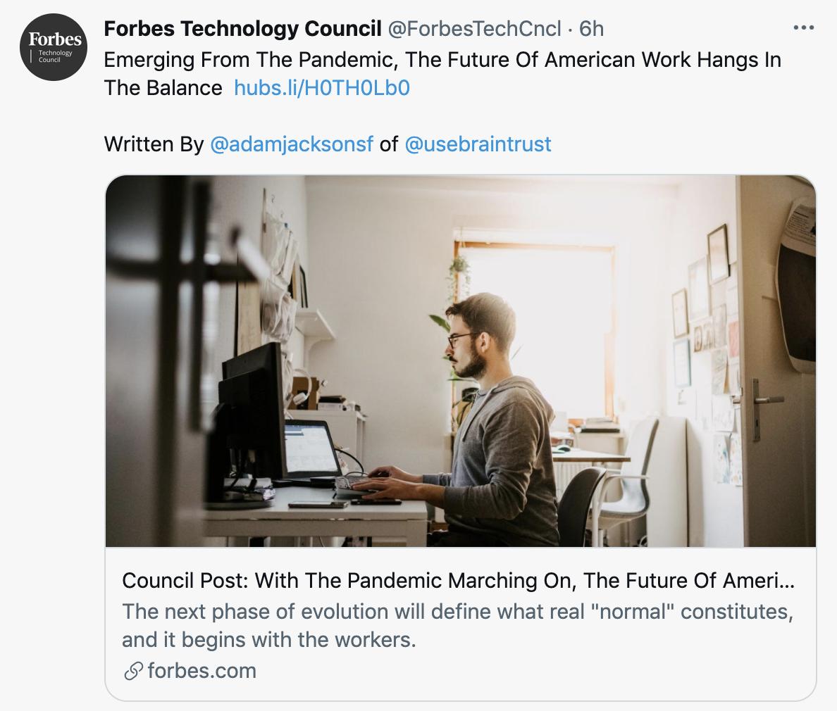 Braintrust Growth Report - August 5, 2021 - Forbes Technology Council Tweet