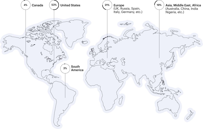 Map of Braintrust Talent Around the World